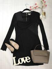 Helmut Lang size uk 10 us 6 black grey stretchy drape dress long sleeve Angora