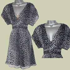 KAREN MILLEN Grey Black Leopard Print Kimono Sleeve V Neckline Flatter Dress 10