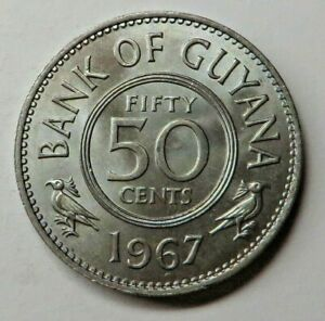 Guyana 50 Cents 1967 Copper-Nickel KM#35 UNC