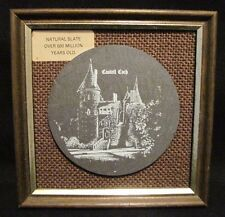 "Vtg Wall Plaque WELSH CASTELL COCH Natural Slate Framed 5"" x5"""
