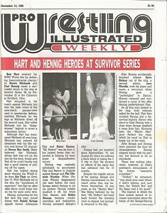 DECEMBER 14 1992 PRO WRESTLING ILLUSTRATED WEEKLY MAGAZINE BRET HART CURT HENNIG