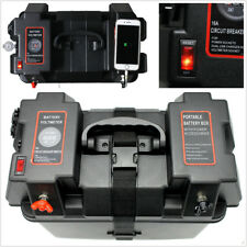 Car Truck 12V Multi-purpose Battery Box Dual USB Charger w/LED Voltmeter Gauge