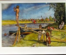 Carl Larsson Poster A Good Place to Bathe Offset Lithograph Unsigned 14x11