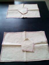 lot de 2 sets de table et 2 serviettes en lin écru