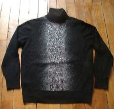 SUPER PULL COL ROULE NOIR STRASS LAINE CACHEMIRE QUASI NEUF TAILLE M