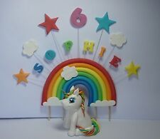 Medio Arco Iris Pony Unicornio Comestibles azúcar Pasta Cake Topper Decoración Cumpleaños
