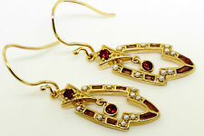 Garnet & Pearl 9ct 375 Solid Gold Hoop Antique Style Earrings - 30 Day Returns