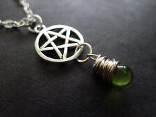 Pretty Pentacle, vert terre de verre collier pendentif Goutte Plaqué Argent