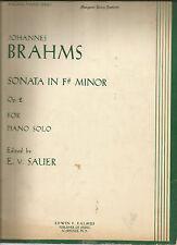 Johannes Brahms Sonata in F# Minor for Piano Solo E v Sauer PB