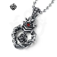 Silver rose crown heart red crystal vintage style stainless steel pendant gothic