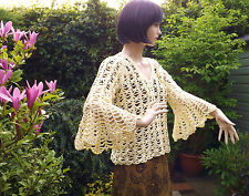 Yellow Lacey Crochet 70s Bell Sleeve Boho Sweater Jumper Quality Cotton Handmade