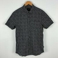 Globe Mens Button Up Shirt Medium Black Polka Dot Short Sleeve Collared
