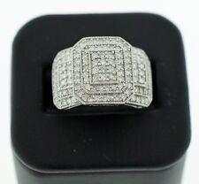 14k White Gold Three Frame Design Pave 1.28 ctw Diamond Ring sz 8.5
