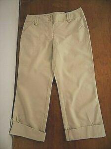 NWT Women's Ann Taylor Straight Leg Hampton Fit Roll-up Capri Pants Sz 8 Beige