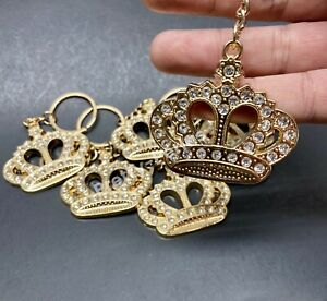 12-Baby Shower Favors Crown Princess Table Party Decoration Girl Keychain Silver