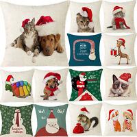 Xmas Christmas Party Cotton Linen Throw Pillow Case Home Shop Sofa Cushion Cover