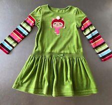 gymboree Winter Cheer Size 5 Euc dress green winter velour
