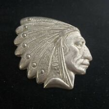 More details for vintage large native american indian chief pewter brooch tribal haux haux