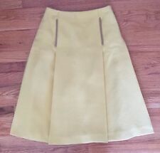 Authentic PRADA Women's Yellow Mustard Winter Wool Pleated A-Line Skirt 6/42