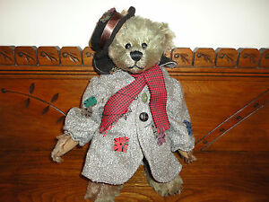 Ganz Bear Heritage Collection Grey/Brown Faux Mohair 14in Long Coat Patches RARE