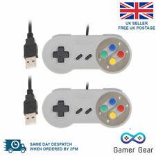 2x Retro Super Nintendo SNES USB Controller Joypads for Win PC MAC Gamepads