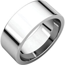 8mm 14K Solid White Gold Plain Flat Comfort Fit Wedding Band Ring All Sizes