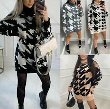 Womens Hounds Dog Tooth Check Knitted High Chunky Neck Jumper Sweater Top Dress
