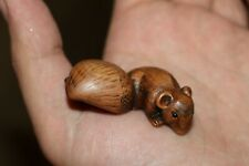 Japanese Antique Netsuke Rat and Chestnut .
