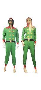 Adult Green ELF Jump Suite Men's Costume Fancy Dress Xmas Party Outfit Bodysuit