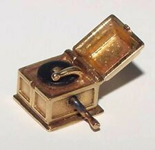 Vintage 14K Gold GRAMOPHONE Charm Moveable Opens Enamel Record HEAVY 5.6Gr