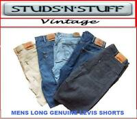 VINTAGE  MENS LEVIS LONG  TAILORED DENIM SHORTS VARIOUS SIZES AND COLOURS