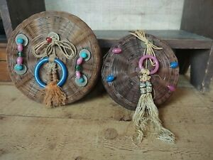 2 Antique Sewing Baskets Woven Reed with Beads, Rings & Tassels