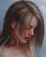 """Art prints on canvas from oil painting beauty beauty bathing nude girl 24""""x36"""""""
