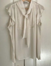 Ann Taylor Loft Woven Top L Ivory Neck Tie Flutter Sleeves Pintucked Opaque