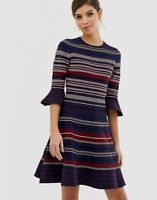 Ted Baker TAYINY Knitted striped skater dress RRP £179 Size 3 UK 12 Ottoman