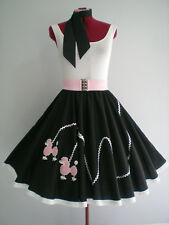 "ROCK N ROLL/ROCKABILLY  ""POODLE"" SKIRT-SCARF M-L Black/White/Pink."