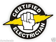 Certified Electrician Hard Hat | Helmet Sticker Label Electrical High Voltage