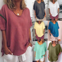 Women Casual Summer Baggy Linen O-Neck Short Sleeve Plus Size Top T-Shirt Blouse