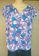 Belissimo XL Blue Purple Pink Floral Semi Sheer Blouse Shirt Top