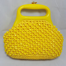 Vintage Woven Straw Beaded Purse Yellow Plastic Handle Mod Mid Century Modern