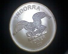 2008 ANDORRA 1 DINER COIN BU -ONE TROY OZ .999 SILVER -BEAUTIFUL EAGLE DESIGN