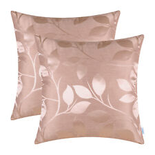 2Pcs Dusty Pink Cushion Cover Pillow Shell Growing Leaves Sofa Home Decor 18X18""