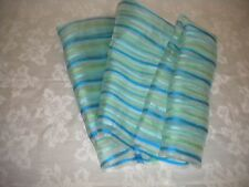 FRANGI Tie Rack Scarf Teal Lime Aqua Clear 100% Silk Multi-Color Striped