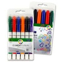 Dry Wipe White Board Markers Teacher School Office Multi Colour Pens 6 in Pack