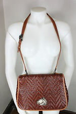 Barry Kieselstein cord leather shoulder purse sterling silver horse brown woven