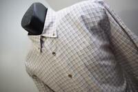 40660 Mens Mountain Khaki Long Sleeve Plaid Button Up Camp Shirt Size Large