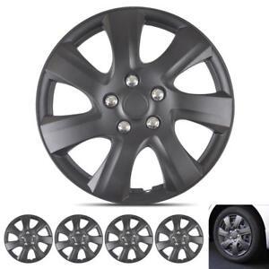 "Matte Black OEM Replacement Hubcaps 16"" Snap-On ABS Car Wheel Rim Cover Hub Caps"