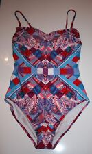NEW Harrods Gottex Swimsuit One-Piece Harlequin UK14/US12/D42/M Bandeau Costume