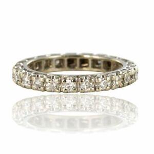 Bague Alliance diamants sertis griffes Or blanc Moderne Bijoux anciens