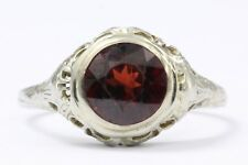 Antique 18K White Gold Art Nouveau Garnet Ring Signed M.G.